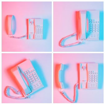 Set di telefono fisso su sfondo rosa