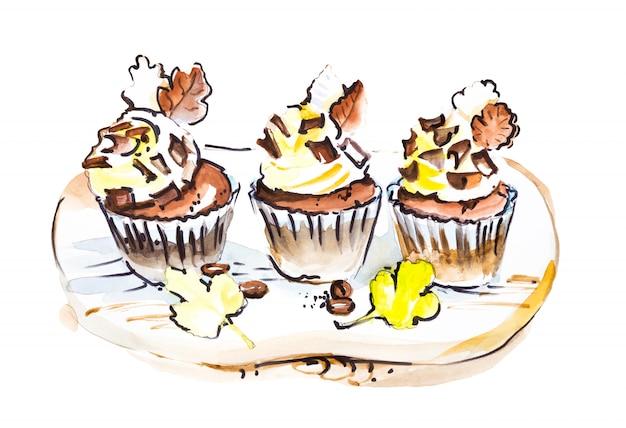 Set di tre cupcakes al cioccolato con barrette di cioccolato. disegno ad acquerello alimentare