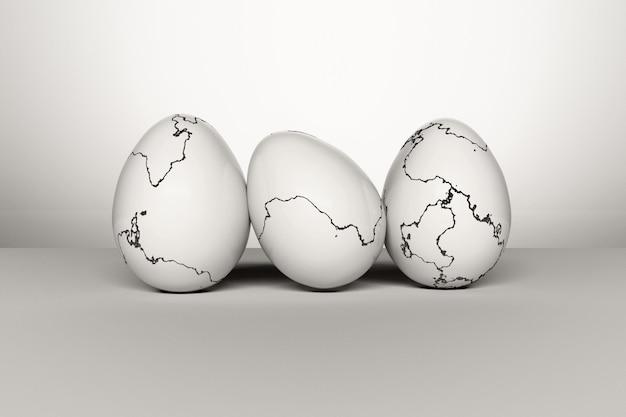 Set di uova di pasqua con crepe sulla superficie delle conchiglie.