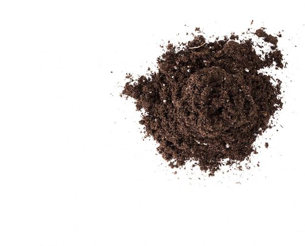 Sezione del suolo o della sporcizia isolata su fondo bianco
