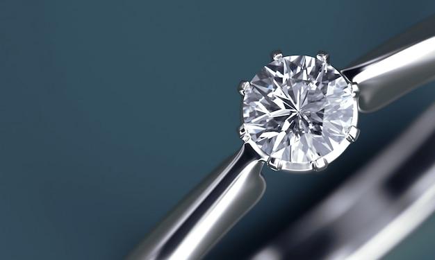 Sezione di anello di diamanti isolato su sfondo blu profondo