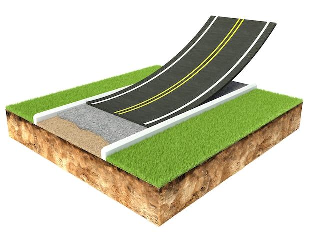 Sezione trasversale della pavimentazione della strada asfaltata isolata