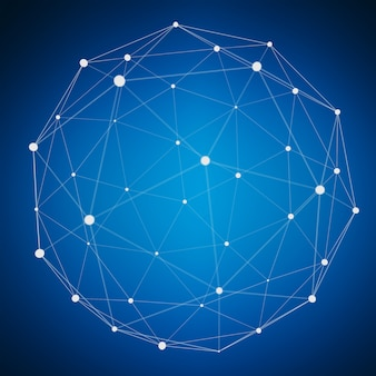 Sfera astratta del web del collegamento con il punto e linee rappresentazione 3d