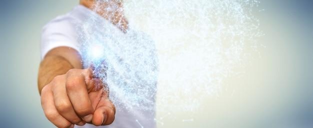 Sfera commovente della rete di dati della rappresentazione 3d dell'uomo d'affari con le sue dita