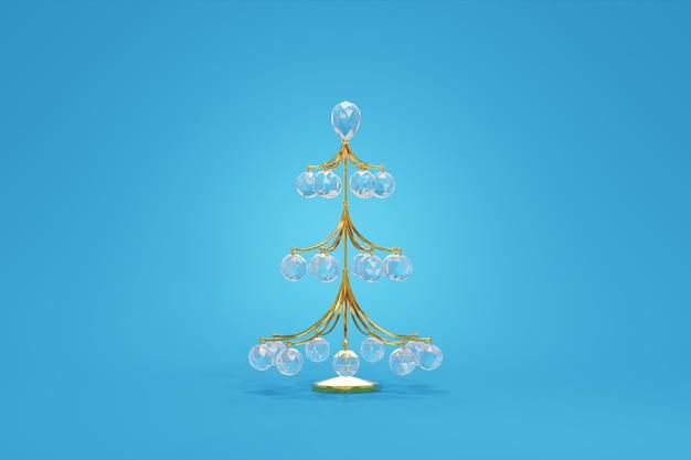 Sfera d'attaccatura fragile di cristallo della decorazione del filo di oro dell'albero di natale fondo grazioso del blu di progettazione di massima del giocattolo. simbolo di gioielli eleganti del nuovo anno. rendering 3d
