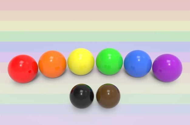 Sfera di colore lgbt con sfere nere e marroni su sfondo bandiera. benvenuto nuovo concetto.