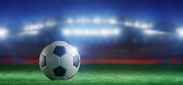 Sfera di gioco del calcio sul campo di uno stadio della coppa del mondo - rappresentazione 3d