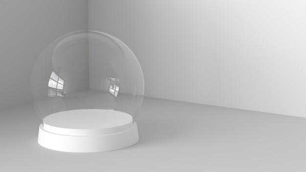 Sfera di vetro di neve vuota con vassoio bianco su sfondo bianco. rendering 3d
