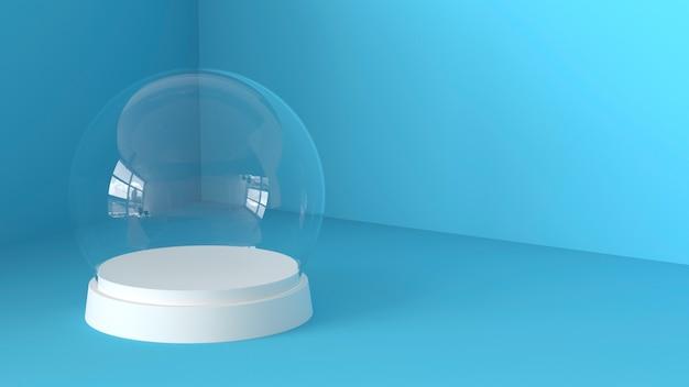 Sfera di vetro di neve vuota con vassoio bianco su sfondo blu. rendering 3d