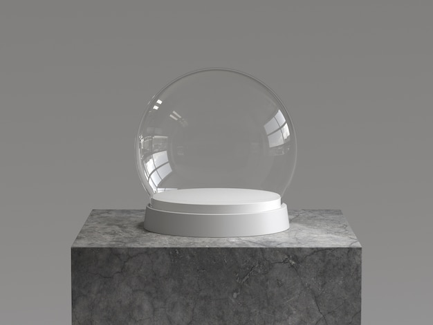 Sfera di vetro di neve vuota con vassoio bianco sul podio di cemento. rendering 3d