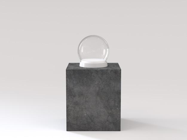 Sfera di vetro di neve vuota con vassoio bianco sul podio di cemento scuro. rendering 3d