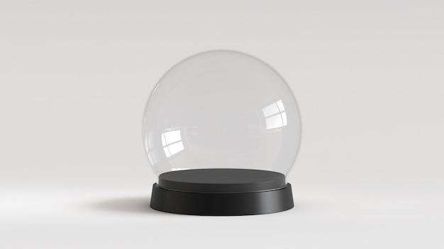 Sfera di vetro di neve vuota con vassoio nero su sfondo bianco. rendering 3d