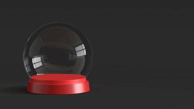 Sfera di vetro di neve vuota con vassoio rosso su sfondo scuro. rendering 3d