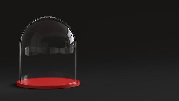 Sfera di vetro di neve vuota con vassoio rosso su sfondo scuro.