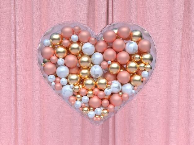 Sfera di vetro trasparente a forma di cuore bianco oro rosa metallizzato