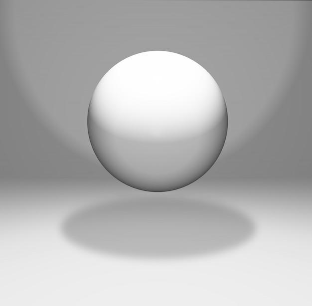Sfera galleggiante in una stanza bianca
