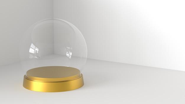 Sfera vuota di vetro della neve con il vassoio dorato su fondo bianco. rendering 3d