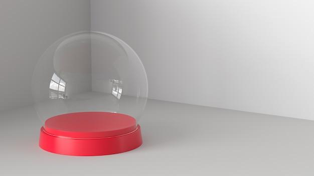 Sfera vuota di vetro della neve con il vassoio rosso su fondo bianco. rendering 3d