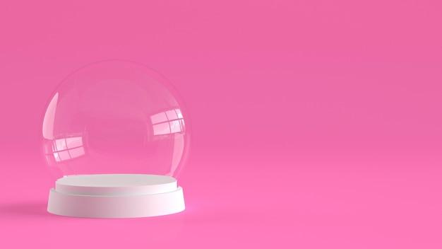Sfera vuota di vetro della neve con vassoio bianco su sfondo rosa.