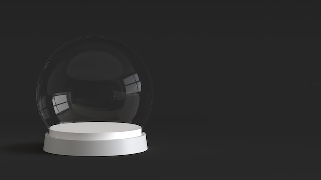 Sfera vuota di vetro della neve con vassoio bianco su sfondo scuro. rendering 3d