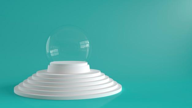 Sfera vuota di vetro della neve con vassoio bianco sul podio di passaggi bianchi.