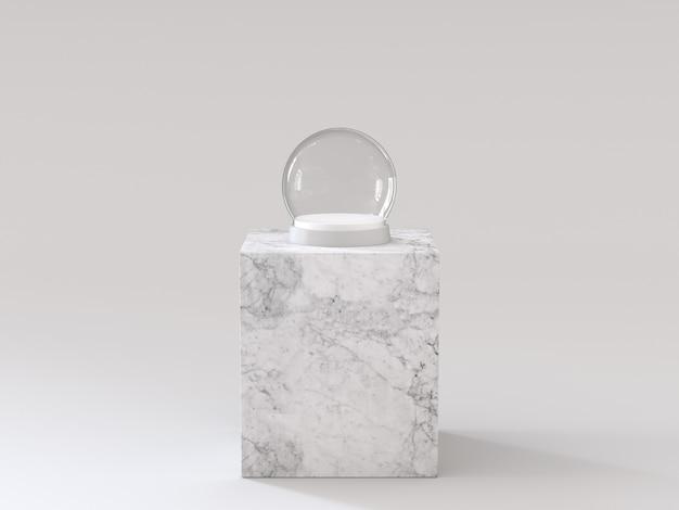 Sfera vuota di vetro di neve con vassoio bianco sul podio di marmo bianco. rendering 3d