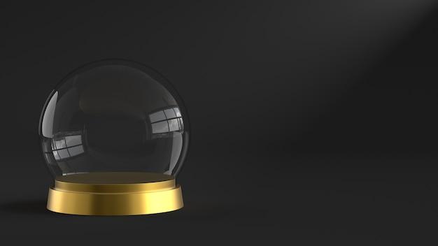 Sfera vuota di vetro di neve con vassoio dorato su sfondo scuro. rendering 3d