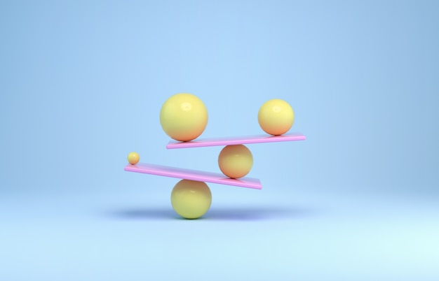 Sfere in equilibrio dai colori pastello