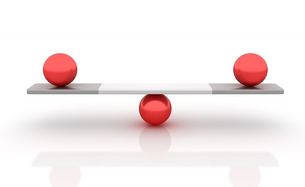 Sfere in equilibrio su un'altalena