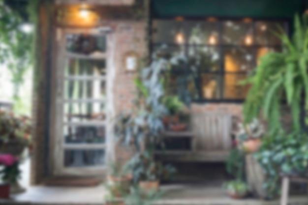 Sfocatura esterno verde eco stile negozio sfondo ambientale