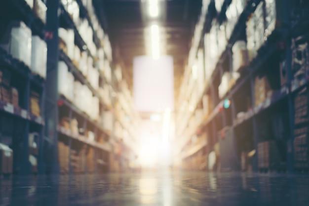 Sfocatura magazzino stock di magazzino per sfondo logistico, immagine filtro vintage