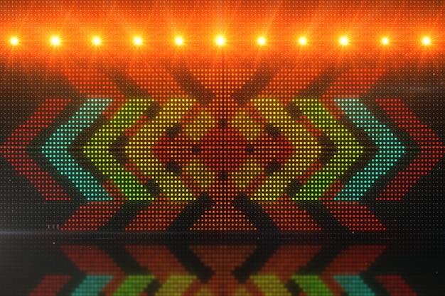 Sfondi in movimento cgi ad alta definizione ideali per l'editing, fondali led o broadcasting con frecce luminose sopra un pannello simulato 3d illustrazione