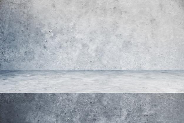 Sfondi pavimento e parete in cemento tavolo, prodotti espositivi per scaffali.