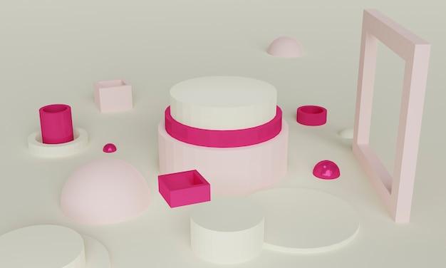 Sfondo 3d astratto rosa crema morbido