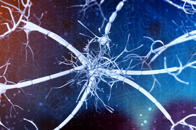 Sfondo 3d di un neurone digitale e reti neurali