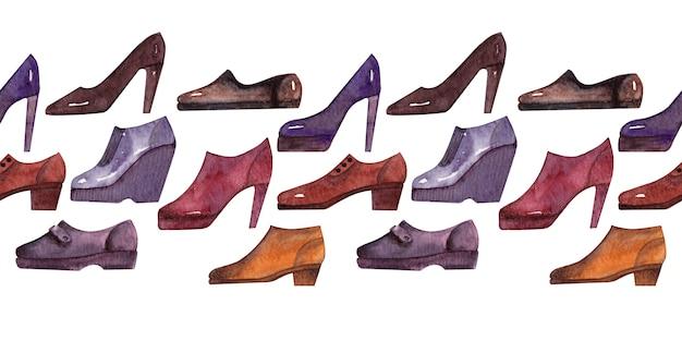 Sfondo acquerello confine con diversi tipi di scarpe stagionali