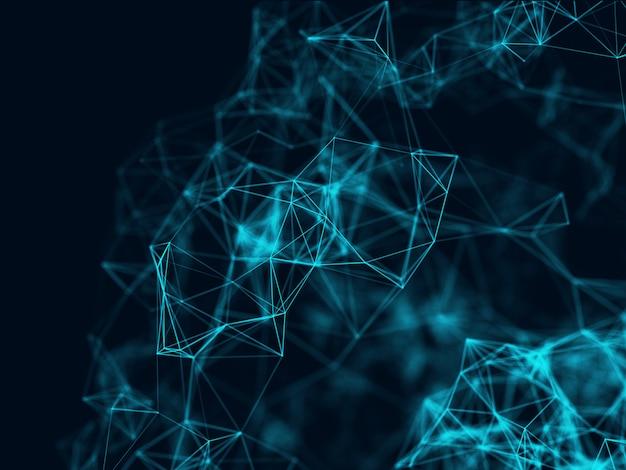Sfondo astratto 3d con connessioni di rete, poli basso, design del plesso
