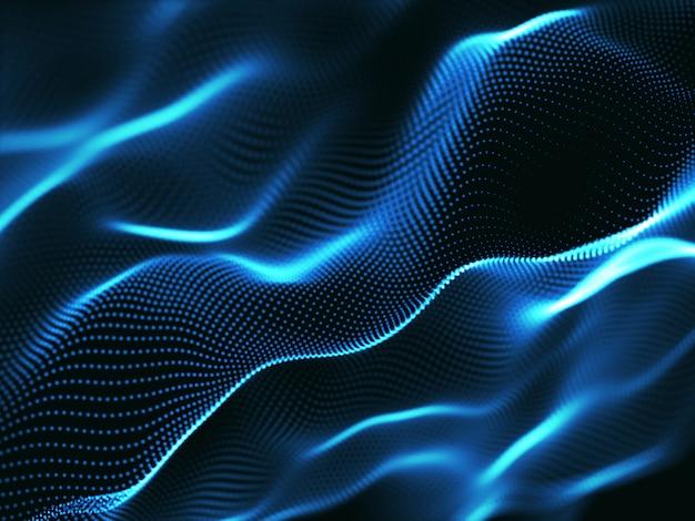 Sfondo astratto 3d con punti cyber, comunicazioni di rete, flusso di movimento