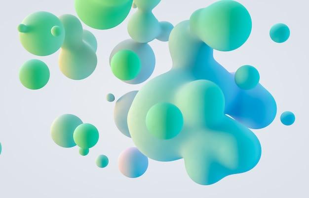 Sfondo astratto arte 3d. macchie di liquidi galleggianti olografici, bolle di sapone, metaballs.