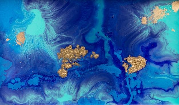 Sfondo astratto blu e oro marmorizzato