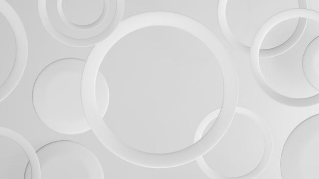 Sfondo astratto con cerchi anello bianco. rendering 3d
