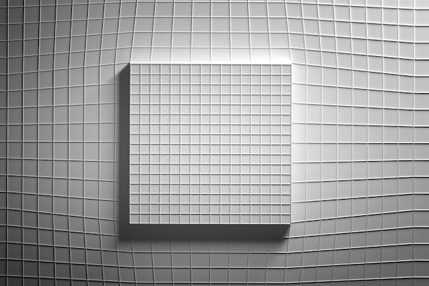 Sfondo astratto con figura geometrica quadrata ricoperta di filo.