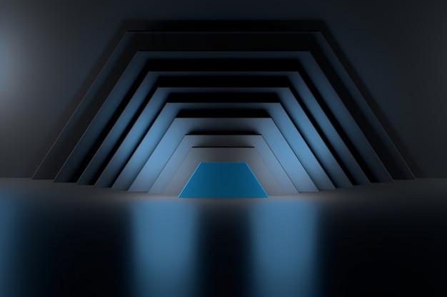 Sfondo astratto con la metà delle forme esagonali su sfondo riflettente lucido.