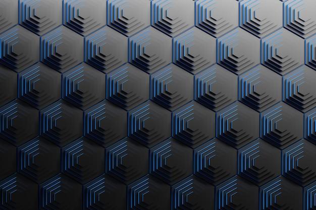 Sfondo astratto con piramidi di esagoni neri ripetuti con bordi blu. sfondo scientifico geometrico.
