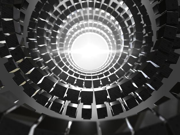 Sfondo astratto cubi neri. rendering 3d