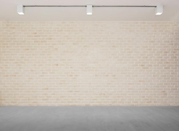 Sfondo astratto dal muro di mattoni con pavimento in cemento grigio con luce da lampade.