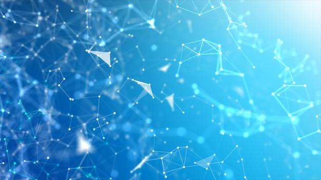 Sfondo astratto dot e collegare la linea per il wireframe futuristico di concetto di connessione di rete e tecnologia cyber