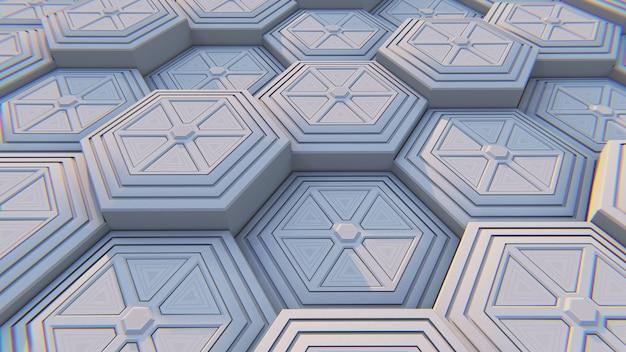 Sfondo astratto esagonale geometrico bianco. illustrazione 3d