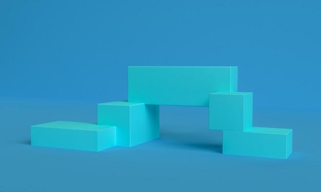 Sfondo astratto geometrico blu primitivo minimalista, podio elegante illustrazione alla moda, stand, vetrina su colori pastello per un prodotto premium. rendering 3d.