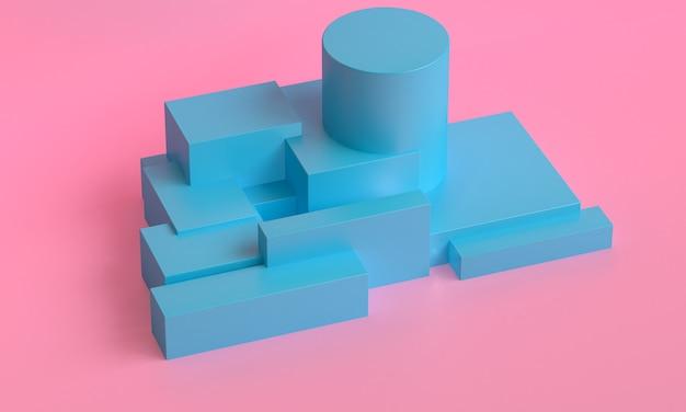 Sfondo astratto geometrico primitivo minimalista, podio illustrazione alla moda alla moda, stand, vetrina su colori pastello per prodotto premium. rendering 3d.